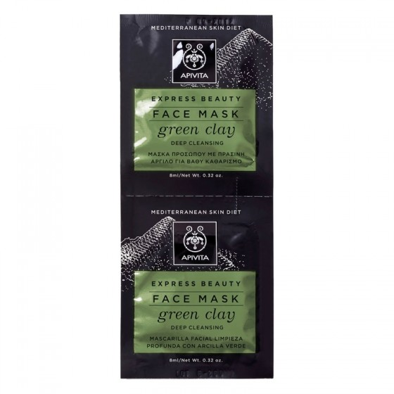 APIVITA EXPRESS BEAUTY Deep Cleansing Face Mask with Green Clay, 2 x 8ml