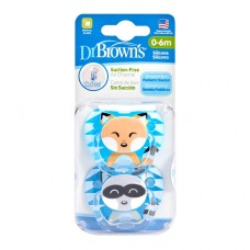 PreVent PRINTED SHIELD Pacifier - Stage 1 * 0-6M - Boy Animal Faces (Raccoon & Fox), 2-Pack