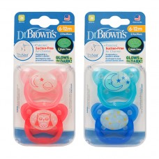 PreVent Glow in the Dark BUTTERFLY SHIELD Pacifier, Stage 2 * 6-12M - Assorted, 2-Pack